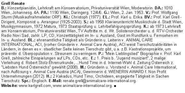 Who is Who of European Women Lebenslauf